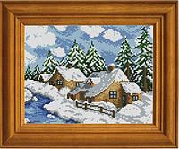 """Схема для вышивания бисером на атласе """"В зиме всё сказочно"""" ЕА-008"""