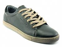 Кожаные мужские стильные комфортные черные спортивные туфли, кеды Konors 886/7-16