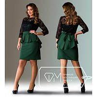 Стильное платье баска и гипюр для пышных дам