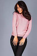 Теплый вязаный джемпер без плечевых швов нежно-розового цвета