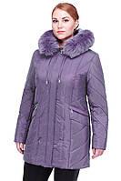Женская зимняя короткая куртка Жардин с песцовой опушкой 48-64 рр
