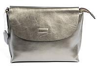 Компактная стильная кожаная женская сумка бронзово серебристого цвета art. 825 Турция