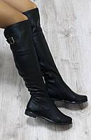 Осенние натуральные кожаные сапоги-ботфорты черные 36,40 размер
