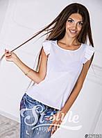 Стильная белая шифоновая блузка с коротким рукавом. Арт-01008/73