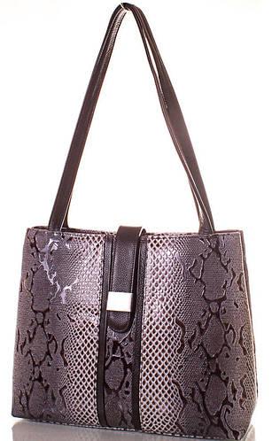 Эффектная женская сумка из натуральной кожи DESISAN (ДЕСИСАН) SHI1521-12L серый