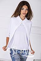 Модная белая шифоновая блузка с воротником и рукавом 3 четверти. Арт-01016/73