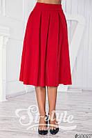 Красная юбка складка миди (полный солнце-клёш с боковыми карманами). Арт-01018/73