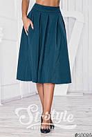 Зеленая юбка складка миди (полный солнце-клёш с боковыми карманами). Арт-01018/73