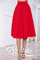 Красная юбка длина миди ( с боковыми карманами). Арт-01019/73