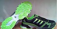 Кроссовки мужские Adidas Marathon черные с салатовым Оригинал