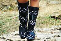 Женские черные кожаные сапожки Луи Витон. Арт-0602