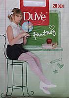 Капроновые колготки для девочки, белые в горошек, 20 den, рост 134 - 140 см, Duve