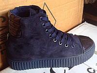 Женские ботинки №2016 (синие)