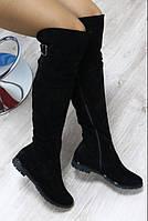 Сапоги зимние Ботфорты замшевые черные