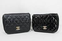 Лаковый  и кожаный стильный женский мини-клатч Chanel