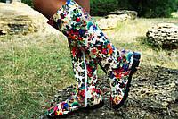 Женские осенние стильные высокие яркие сапоги. Арт-0612