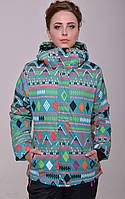 Женская горнолыжная куртка модной расцветки (ромб зеленый)