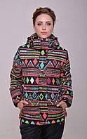 Женская горнолыжная куртка модной расцветки (ромбы)