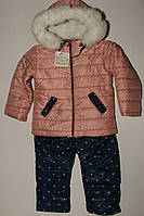 Комплект на девочку куртка и штаны СЕРДЕЧКА на меху.