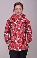 Женская горнолыжная зимняя куртка (очень теплая) красная