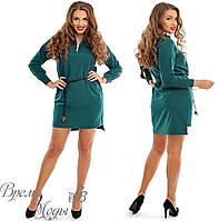 Тёмно-зелёное повседневное платье. р. 48-50, 52-54