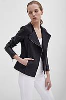 Женское короткая куртка с кожаными рукавами | Осень 2016