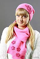 Яркий розовый комплект шапка/шарф