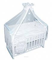 Детский постельный комплект Луна и звезды — белый Тигрес