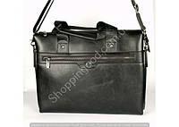 Мужская сумка Bradford 8651-5 черная формата А4 из искусственной кожи плечевой ремень на четыре отделения