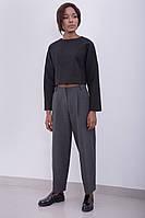 Женская стильная короткая кофта с длинными рукавами | Черная
