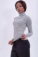 Женский модный облегающий гольф в полоску | Черно-белый