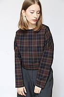 Женская модная короткая кофта с длинным рукавом в клетку