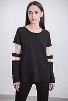 Женская свободная кофта с прозрачными вставками на рукавах | Осень-Весна