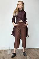 Модные женские брюки-кюлоты коричневого цвета