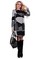 Женское черно-серое шерстяное пальто арт. Милан шерсть принт