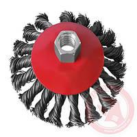 Щётка конусная 100мм, для УШМ, М14, витая проволока (ВТ-4100)