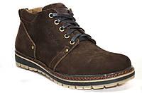 Зимние мужские ботинки из натурального нубука коричневого цвета.