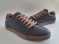 Кожаные мужские стильные комфортные темно-синие спортивные туфли, кеды Konors 886/7-46