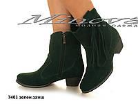 Зимние замшевые зеленые ботинки на цигейке на молнии на каблуке (размеры 36-41)