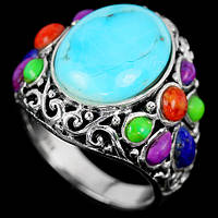 Кольцо в стиле *винтаж* с бирюзой