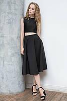 Элегантная качественная женская черная юбка-миди