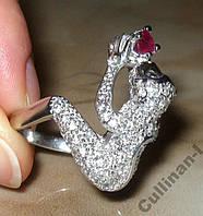 Кольцо серебро 925 позол.натур.рубин р.18,7(ВИДЕО)