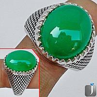 Стильное мужское кольцо с зеленым халцедоном