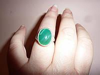 Кольцо с натуральным зеленым агатом