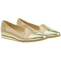 Туфли женские Jaromin (золотистый цвет, кожаные, стильные, модные, комфорные)
