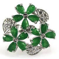 Кольцо с изумрудными цветами
