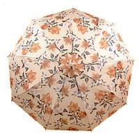 Удивительный зонт с ветрозащитой для леди, полуавтомат 756-4 бежевый/цветы