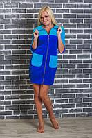Халат велюровый женский воротник стойка синий, фото 1