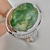 Кольцо с моховым агатом 15карат