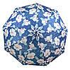 Женский выразительный зонт с ветрозащитой, полуавтомат 756-6 синий/цветы